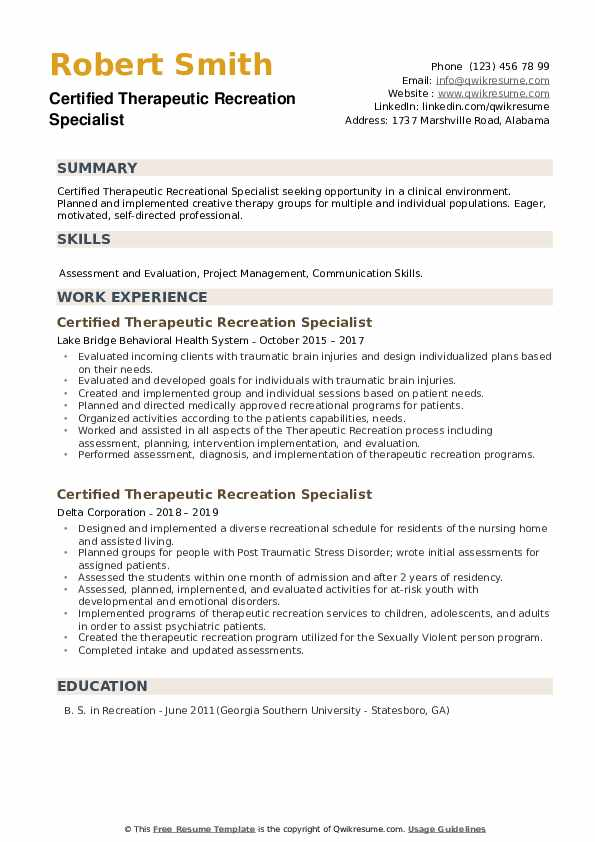 Certified Therapeutic Recreation Specialist Resume example