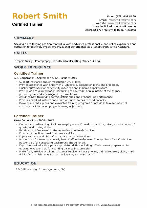 Certified Trainer Resume example