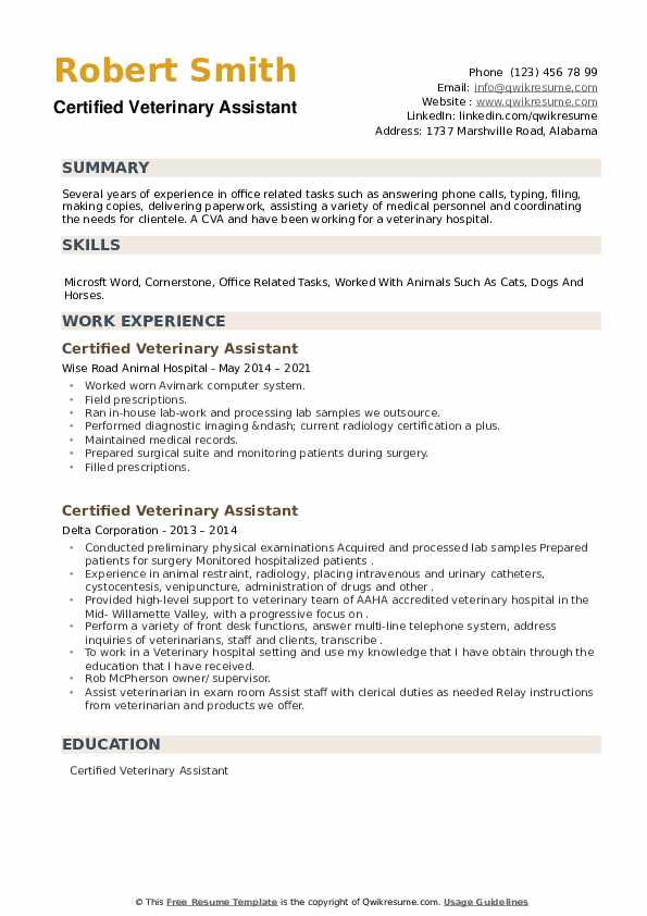 Certified Veterinary Assistant Resume example