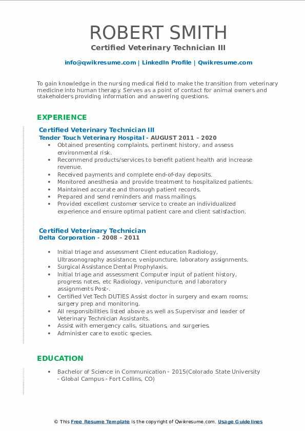 certified veterinary technician resume samples  qwikresume