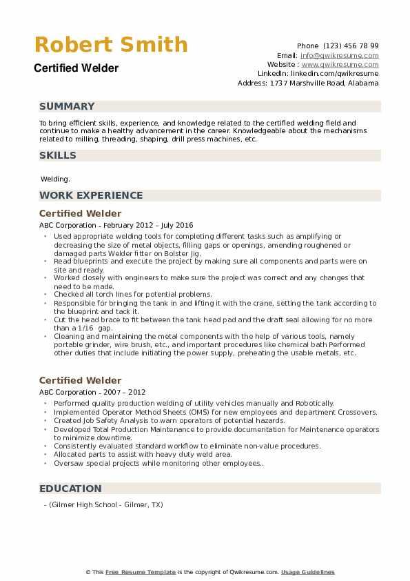Certified Welder Resume example