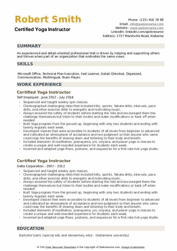 Certified Yoga Instructor Resume example
