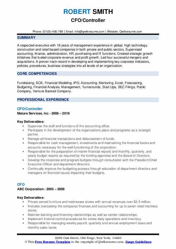 CFO/Controller Resume Template