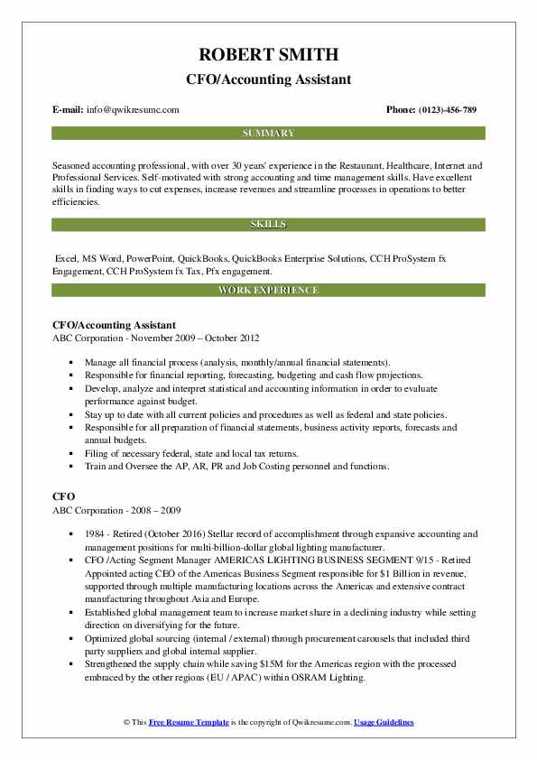CFO/Accounting Assistant Resume Model