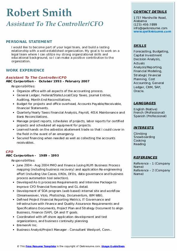 Assistant To The Controller/CFO Resume Example