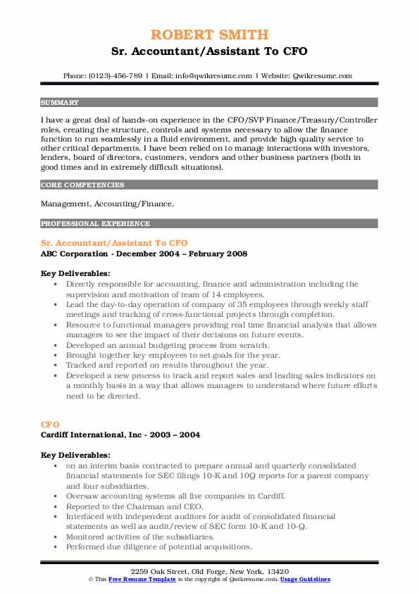 Sr. Accountant/Assistant To CFO Resume Format