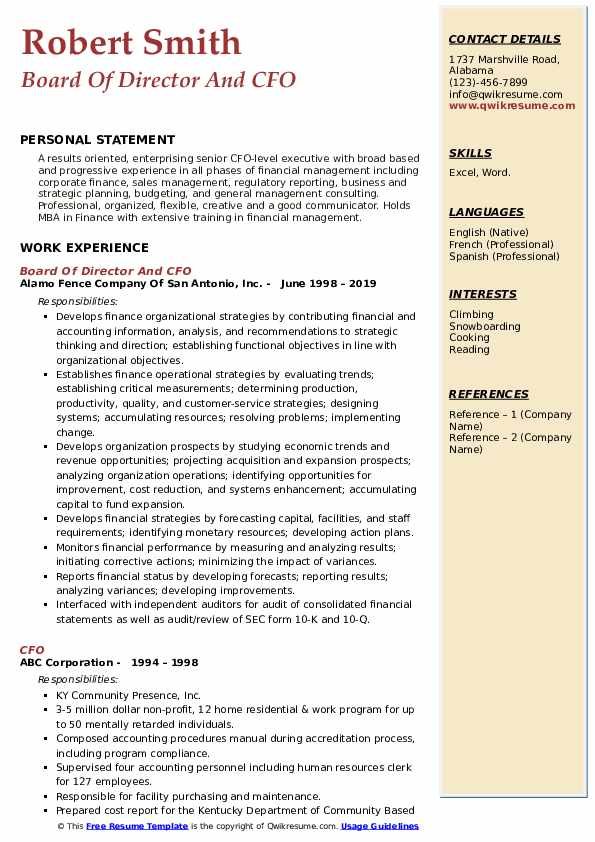 Board Of Director And CFO Resume Model