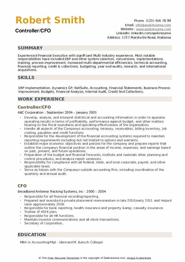 CFO Resume Samples | QwikResume