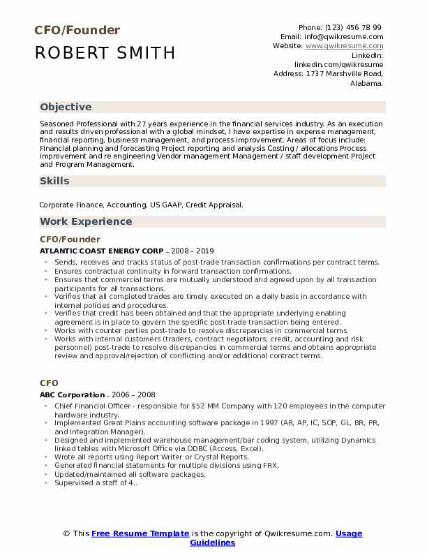 CFO/Founder Resume Format