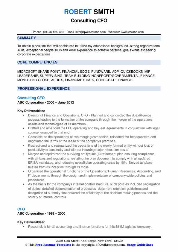 Consulting CFO Resume Template