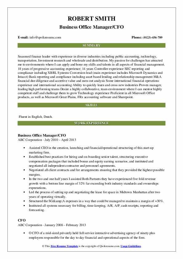 Business Office Manager/CFO Resume Model