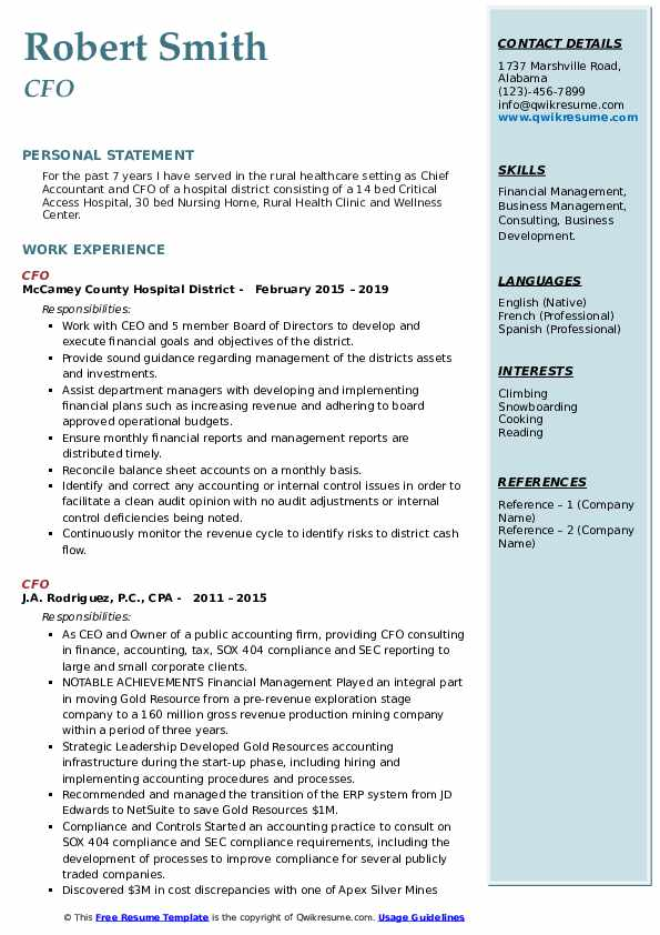 cfo resume samples