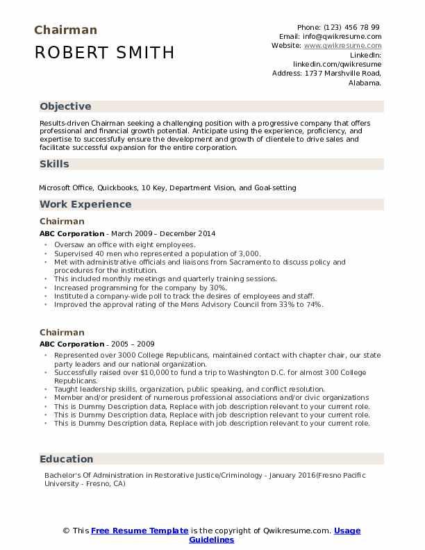 Chairman Resume example