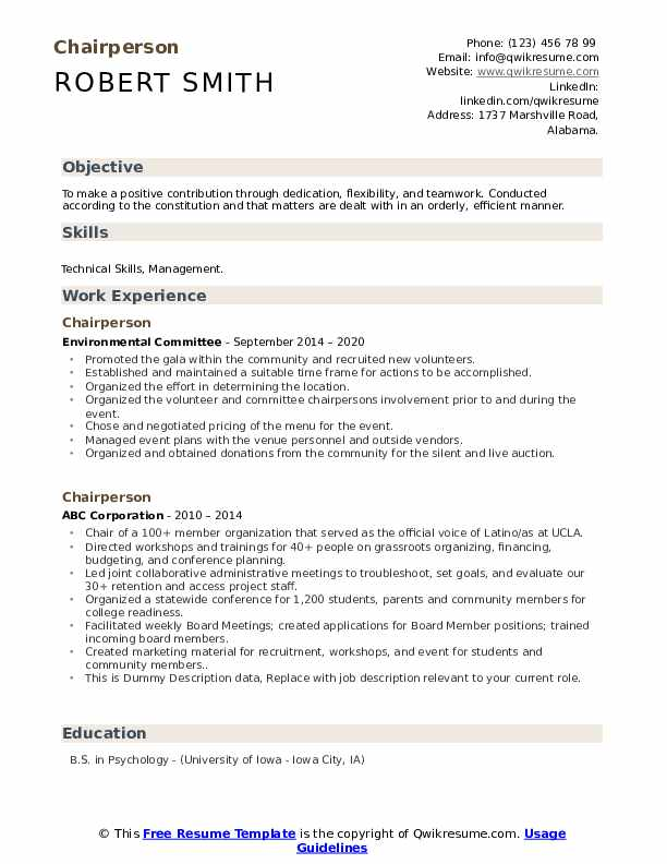 Chairperson Resume example