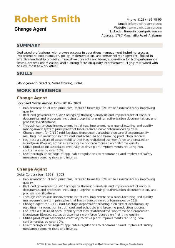 Change Agent Resume example