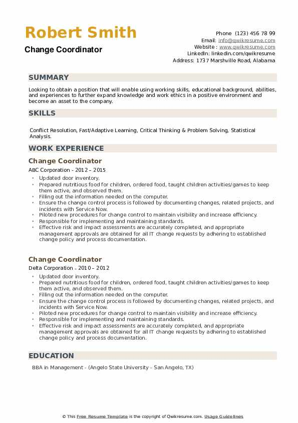 Change Coordinator Resume example