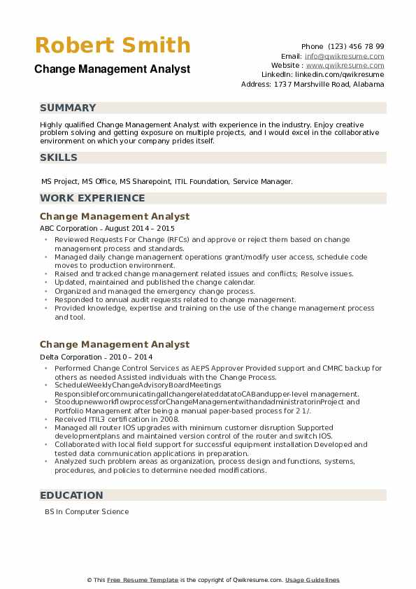 Change Management Analyst Resume example