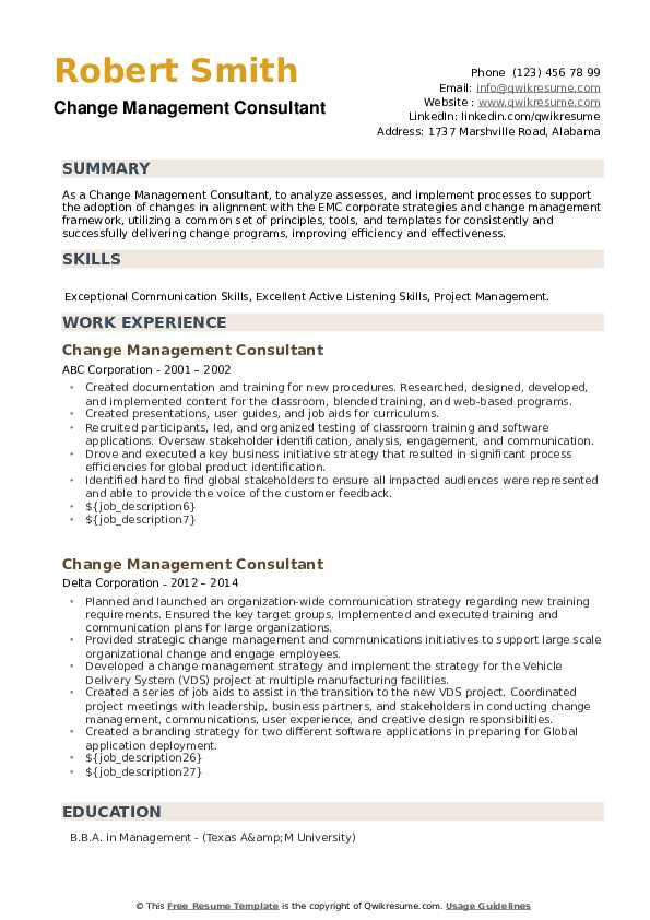 Change Management Consultant Resume example