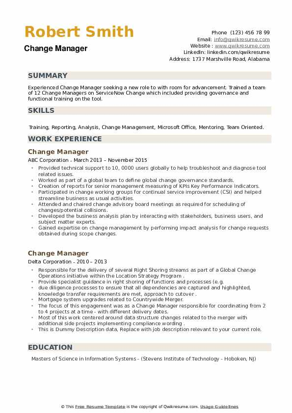 Change Manager Resume example