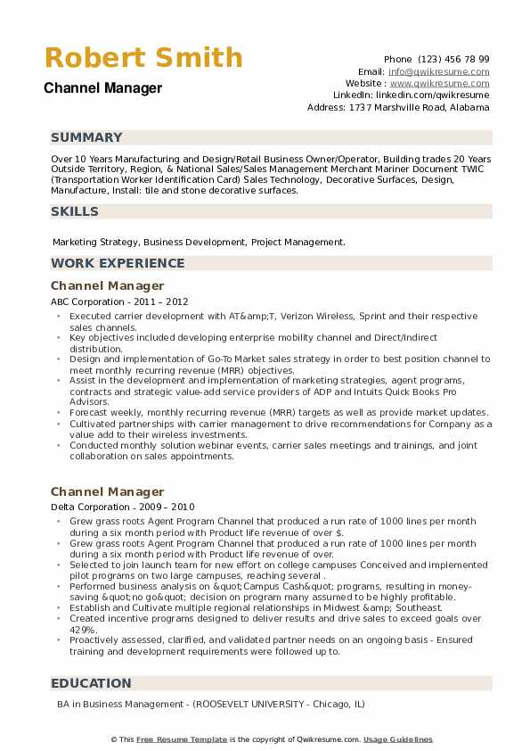 Channel Manager Resume example