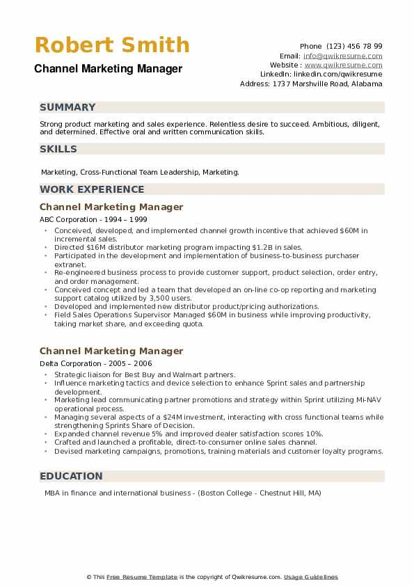 Channel Marketing Manager Resume example