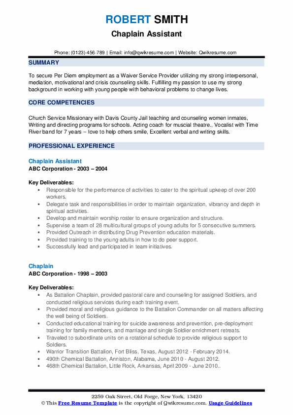 Chaplain Assistant Resume Example