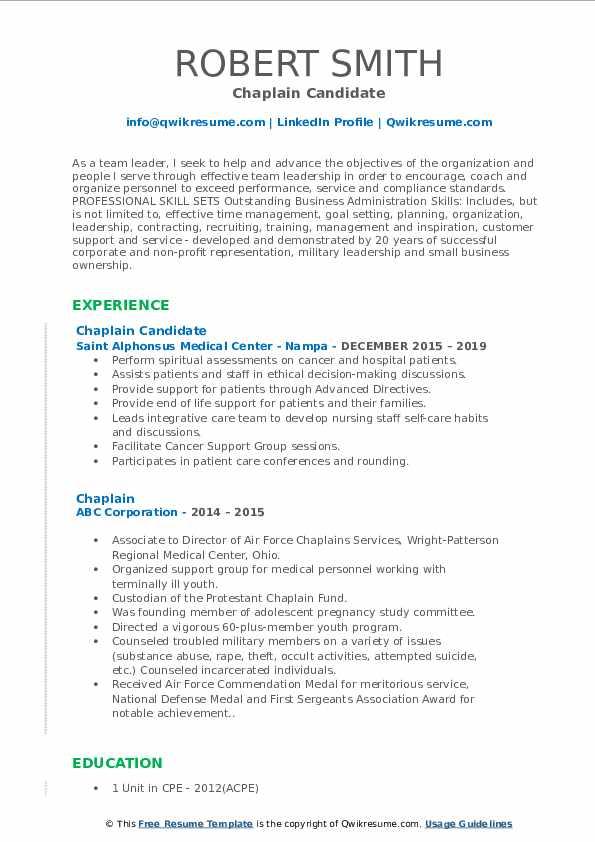Chaplain Candidate Resume Model