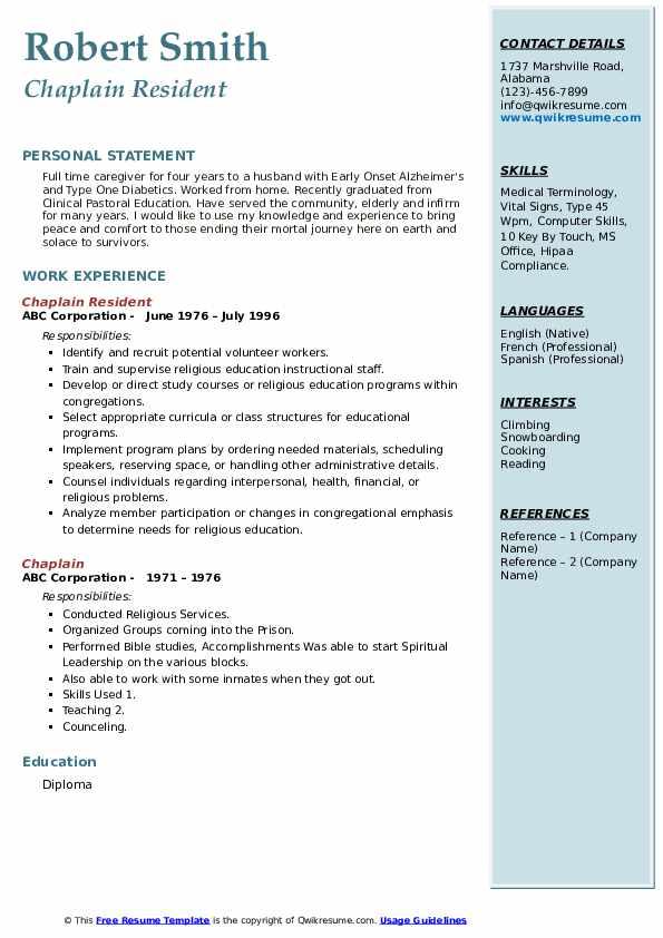 Chaplain Resident Resume Model