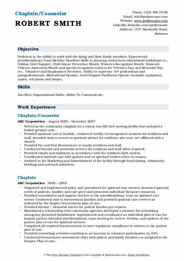 Chaplain/Counselor Resume Model