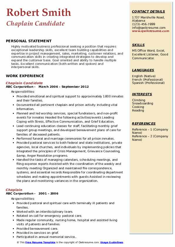 Chaplain Resume Samples Qwikresume
