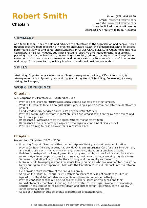 chaplain resume samples
