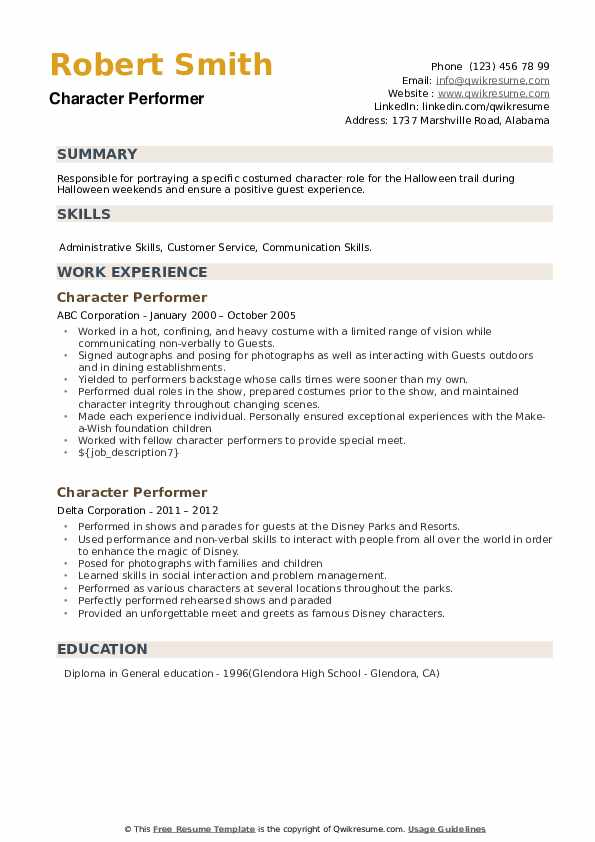 Character Performer Resume example