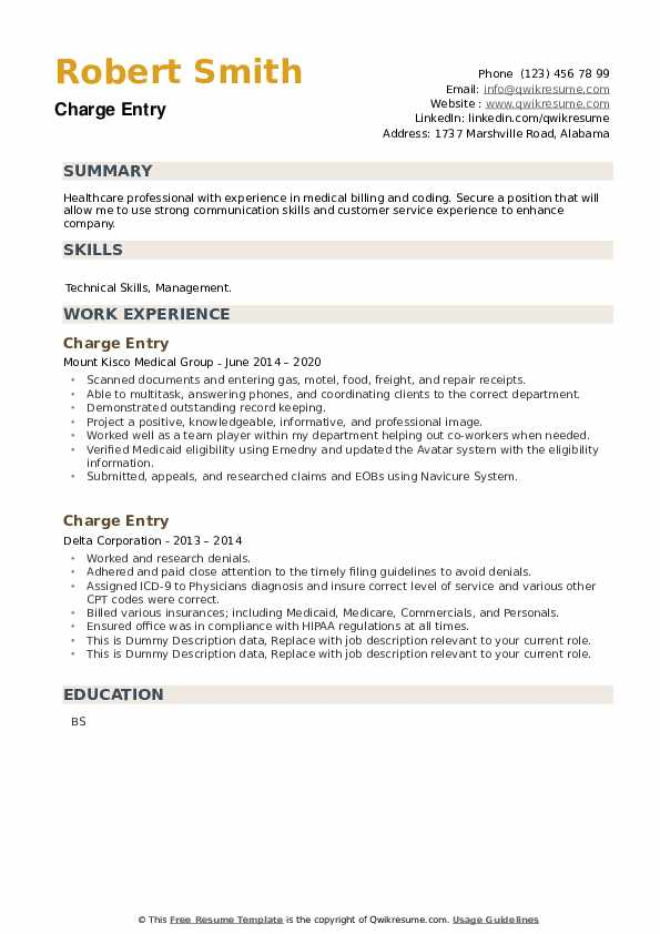 Charge Entry Resume example