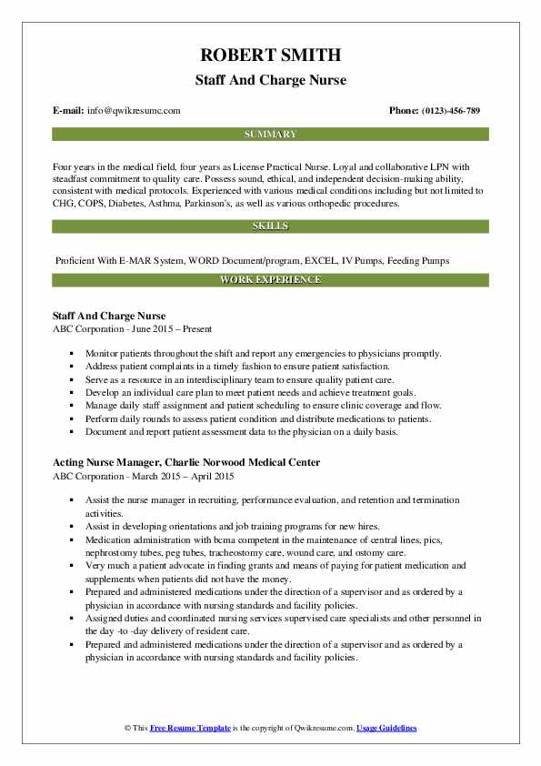 Staff And Charge Nurse Resume Model