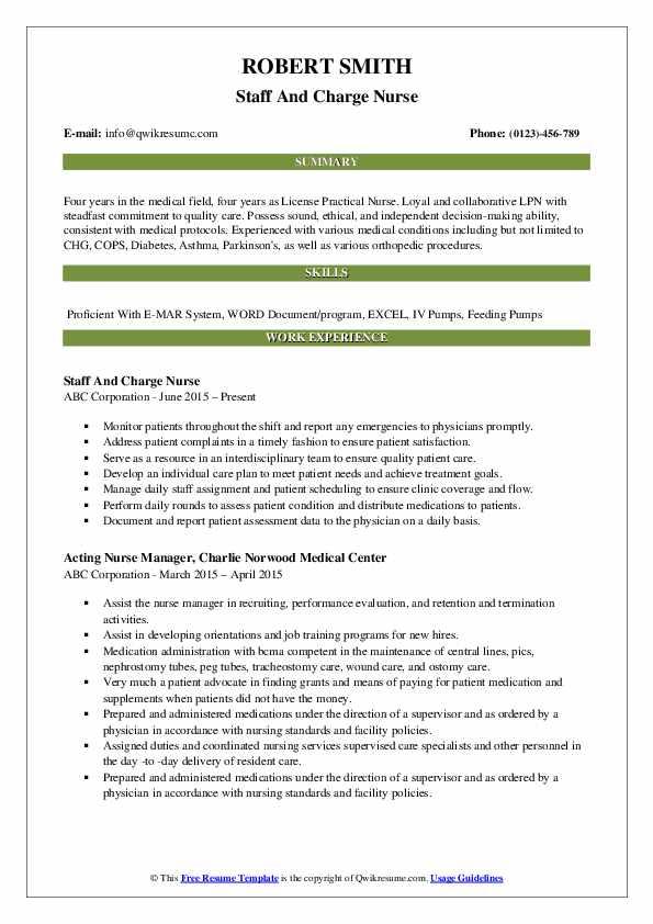 Charge Nurse Resume.Charge Nurse Resume Samples Qwikresume