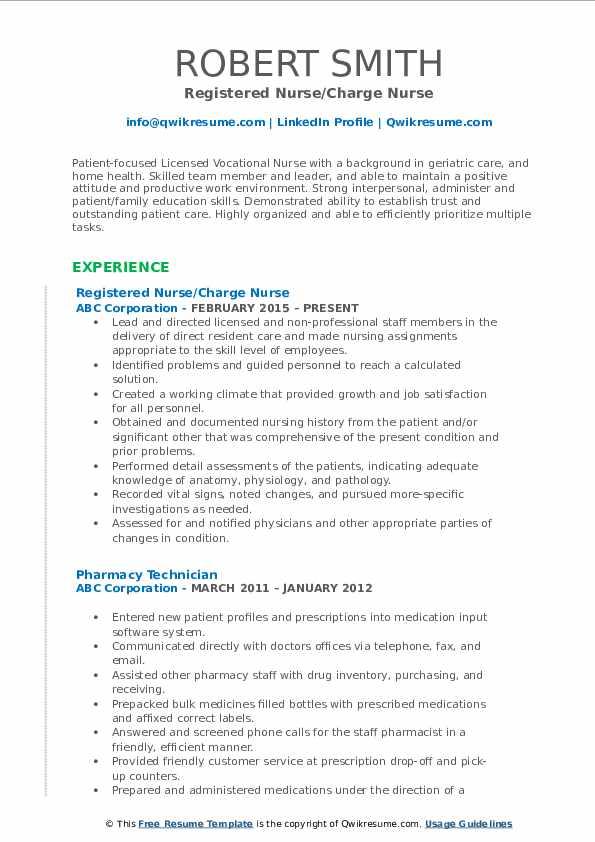 Registered Nurse/Charge Nurse Resume Example