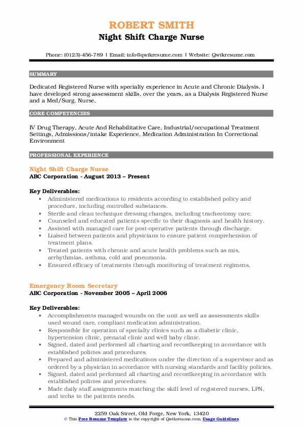 Night Shift Charge Nurse Resume Format