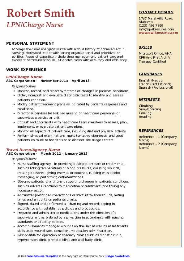LPN/Charge Nurse Resume Template
