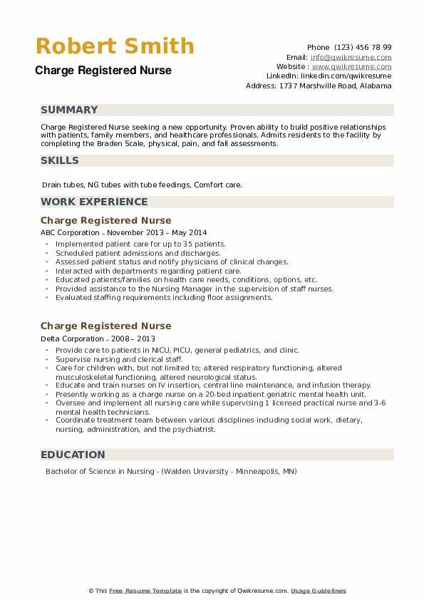 Charge Registered Nurse Resume example