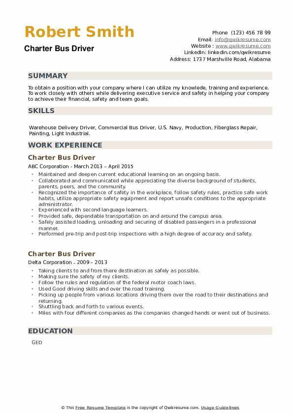 Charter Bus Driver Resume example