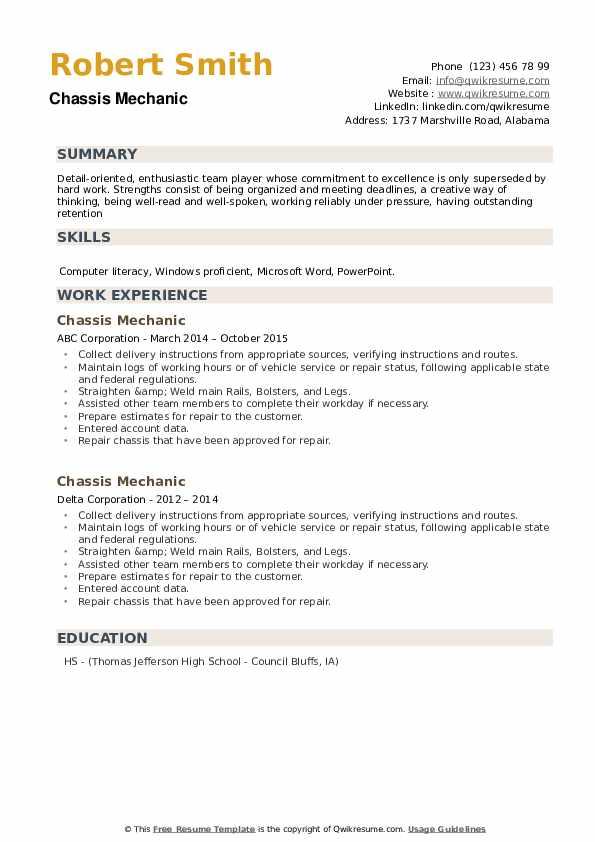 Chassis Mechanic Resume example