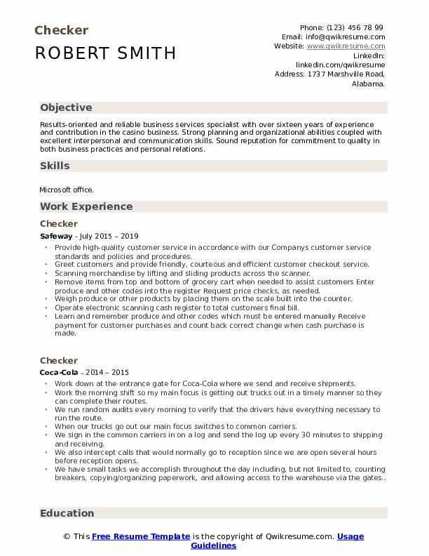 Checker Resume Samples Qwikresume