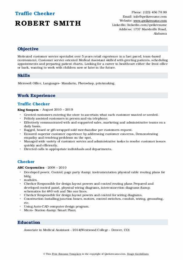 checker resume samples