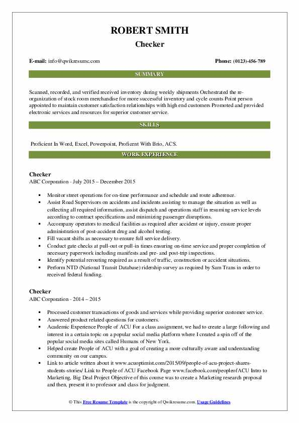 Checker Resume example