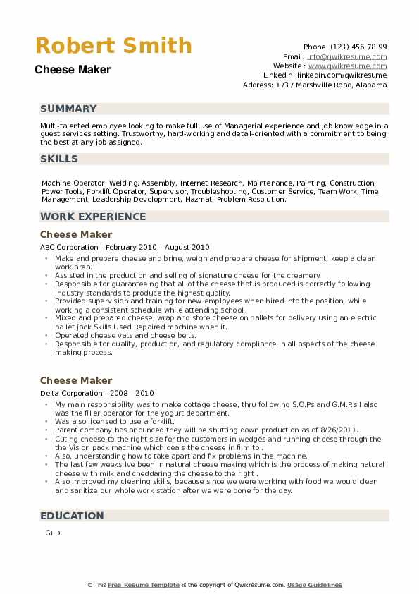 Cheese Maker Resume example