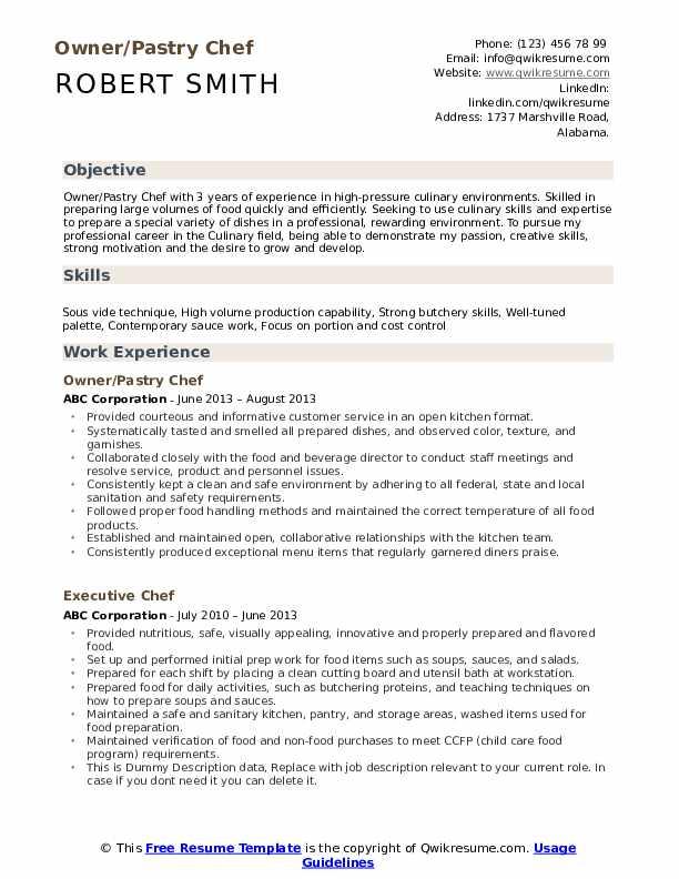 Owner/Pastry Chef Resume Model