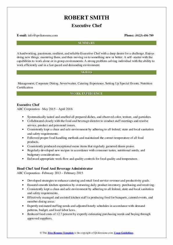 Executive Chef Resume Example