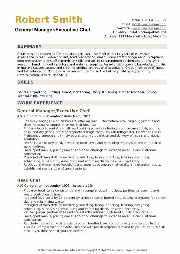 Chef Resume Samples Qwikresume