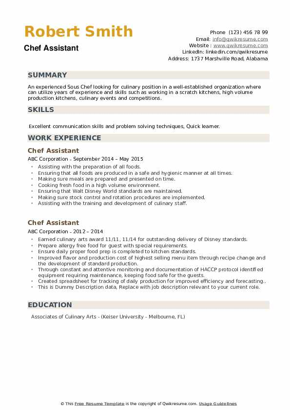 Chef Assistant Resume example