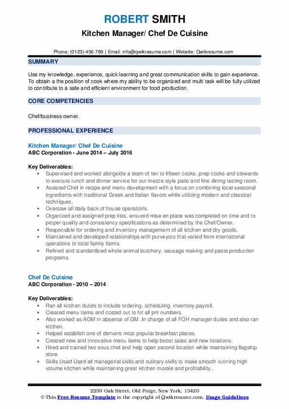 Kitchen Manager/ Chef De Cuisine Resume Format